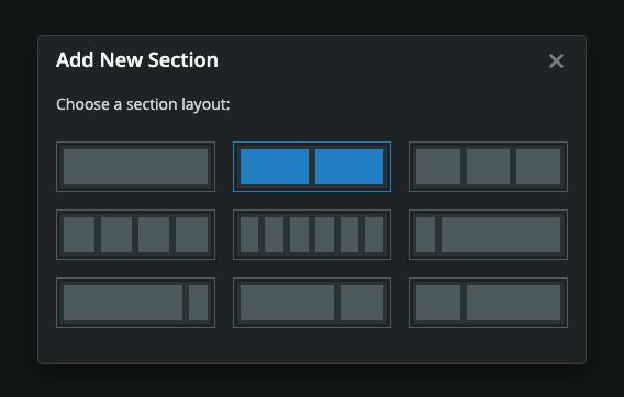 Dashboard Builder Add Section Modal