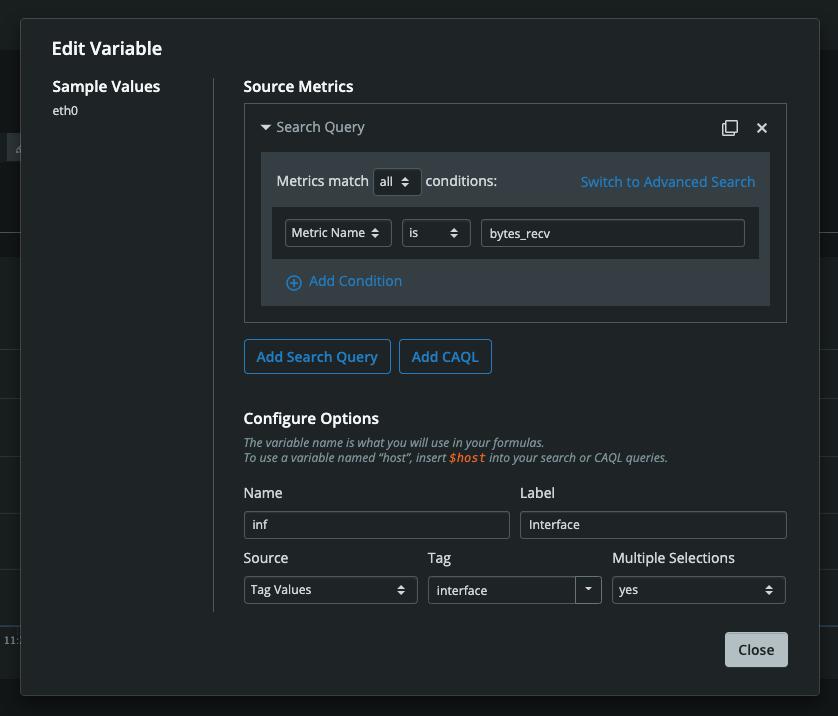 Dashboard Builder Add Variable Modal