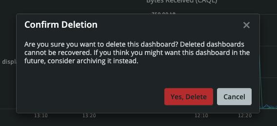 Dashboard Builder Confirm Deletion Modal