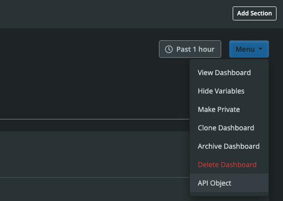 Dashboard Builder Dropdown Menu API Object