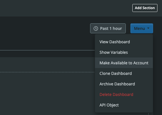 Dashboard Builder Dropdown Menu Make Available to Account