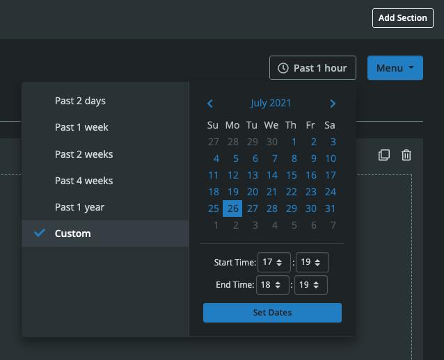 Dashboard Builder Edit Time Window