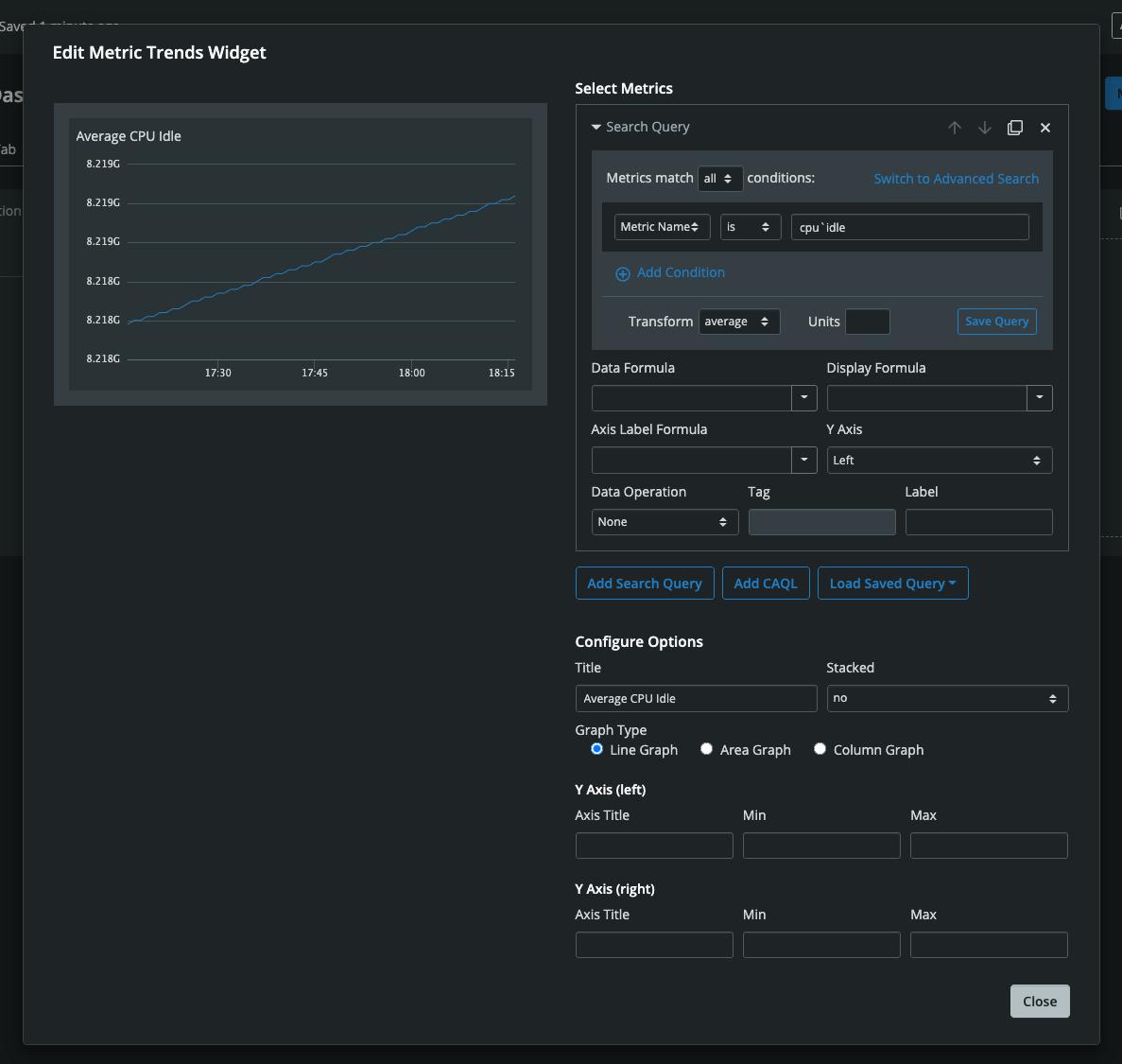 Dashboard Builder Edit Widget Modal