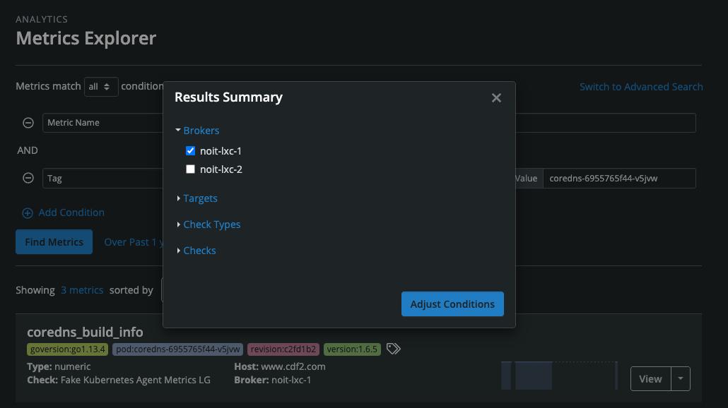 Metrics Explorer Search Results Summary Modal