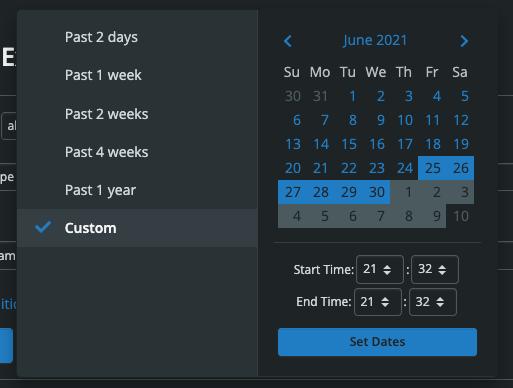 Metrics Explorer Time Frame Selection